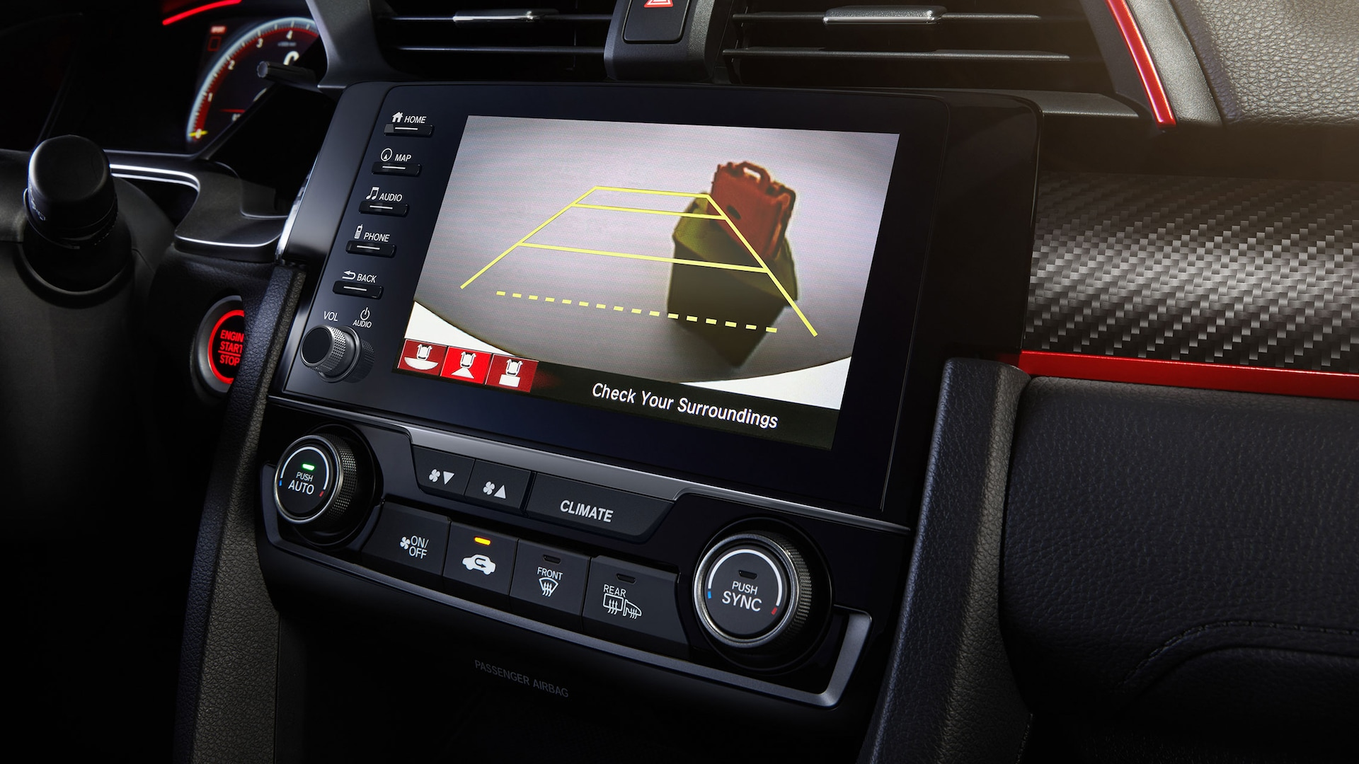 Detail of Display Audio touch-screen with multi-angle rearview camera in the 2021 Honda Civic Type R.