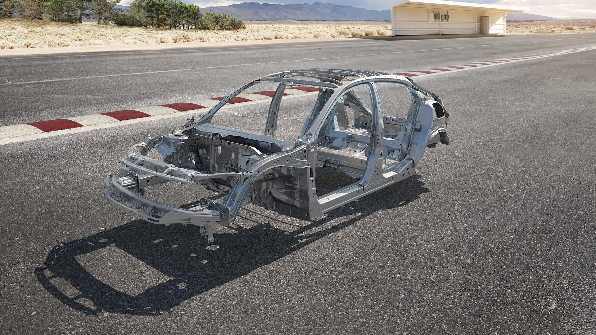 Cutaway view of 2021 Honda Civic Type R frame with ACE™ body structure, superimposed on a desert racetrack.