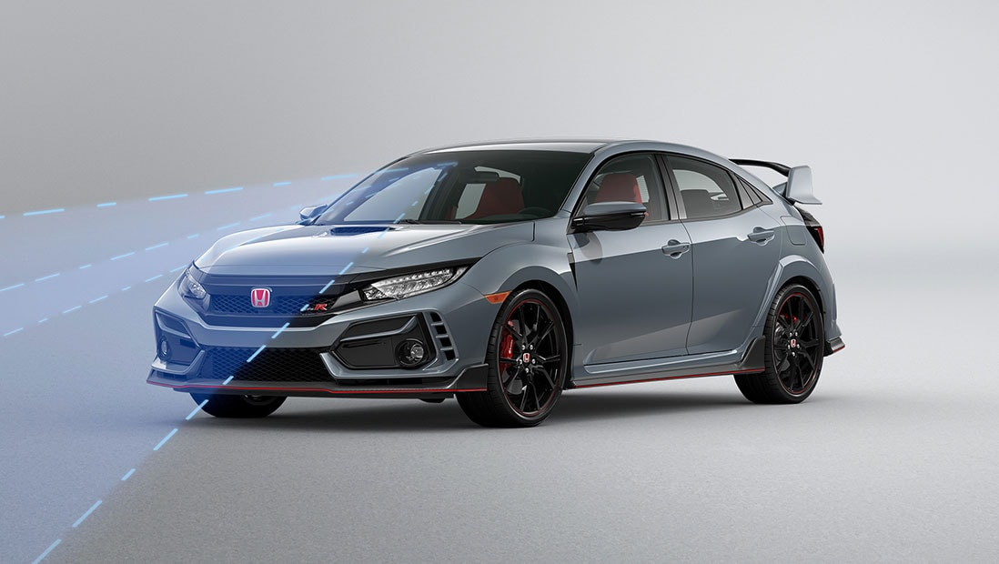 Front driver-side view of the 2021 Honda Civic Type R in Sonic Gray Pearl, demonstrating Honda Sensing® features.