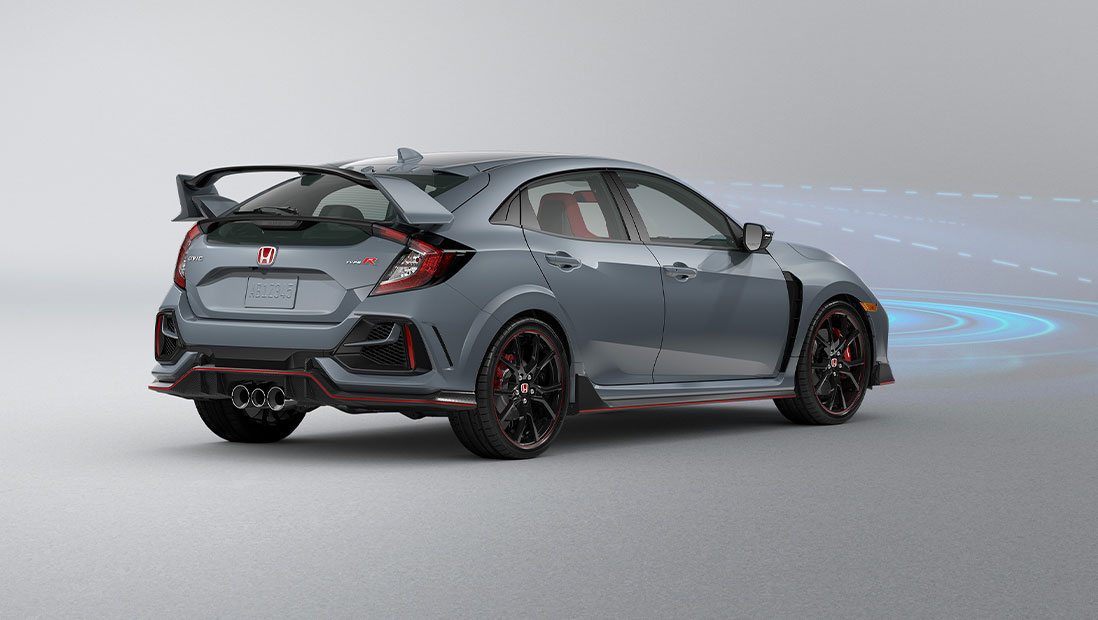 Rear passenger-side view of the 2021 Honda Civic Type R in Sonic Gray Pearl, demonstrating Honda Sensing® features.