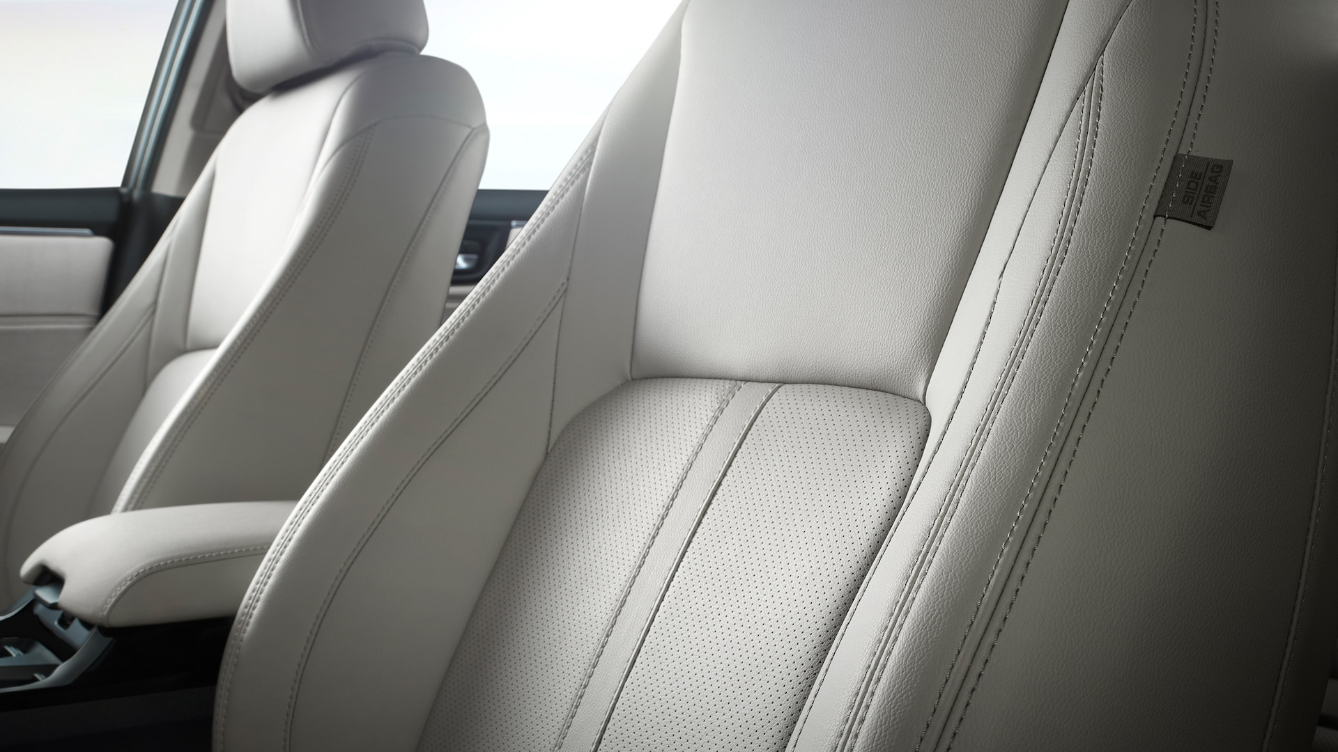 Detail of the premium leather seating and stitching for 2021 Honda Clarity Cell.