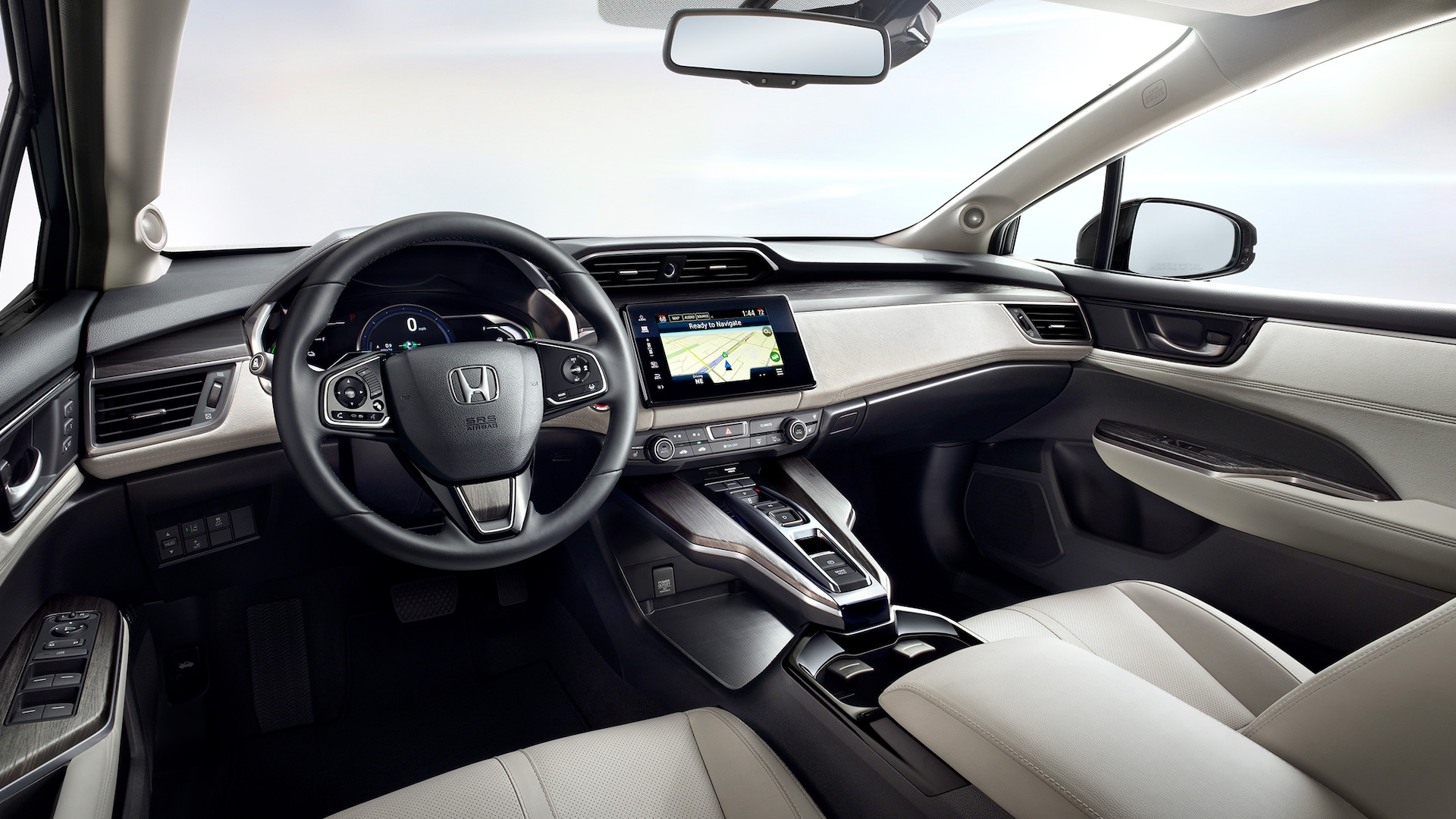 Driver's point of view of instrument panel of 2021 Honda Clarity Fuel Cell.