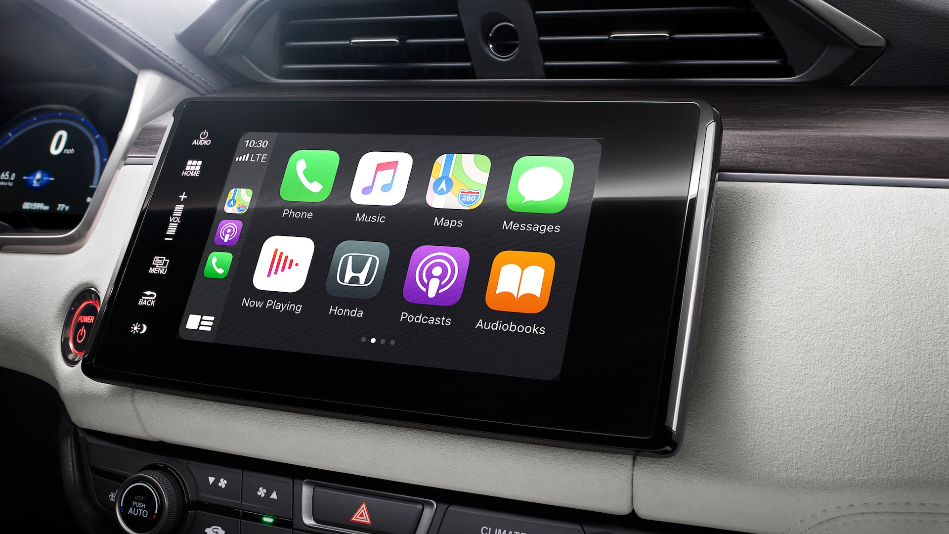 Detail of Apple CarPlay® integration screen for Display Audio touch-screen on 2021 Honda Clarity Fuel Cell.