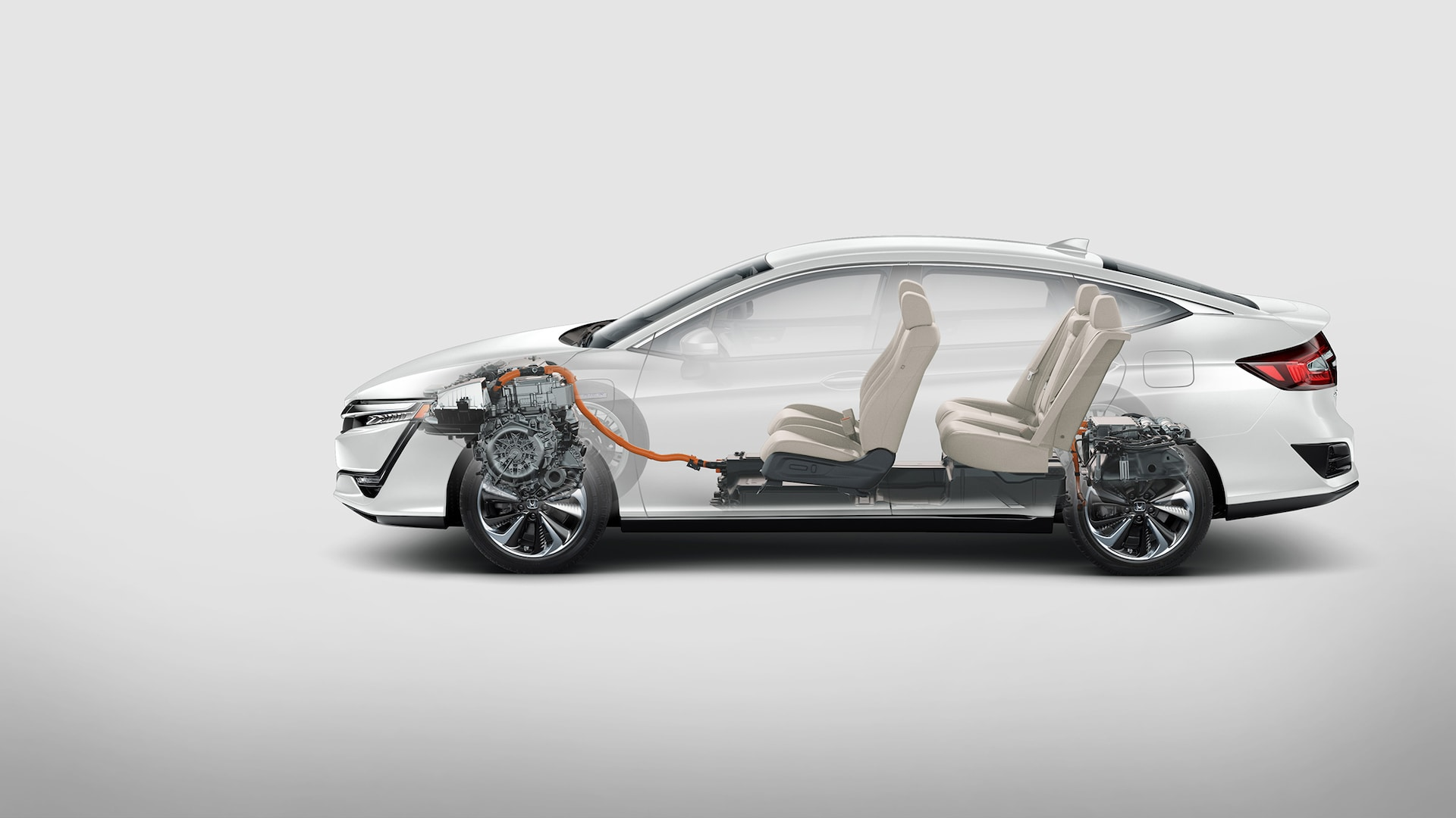 Side profile of 2021 Clarity Plug-In Hybrid with interior shown.