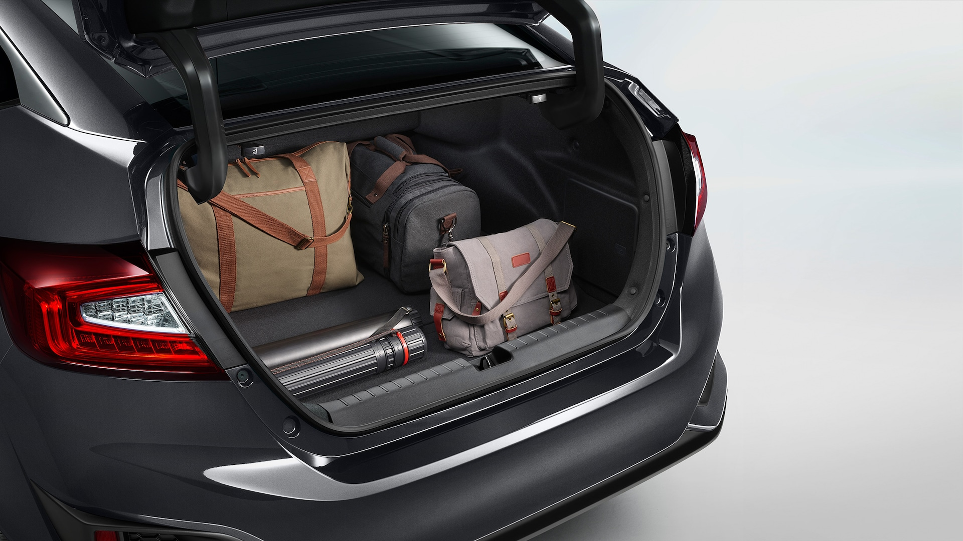 Detail of cargo loaded in open trunk of 2021 Clarity Plug-In Hybrid.