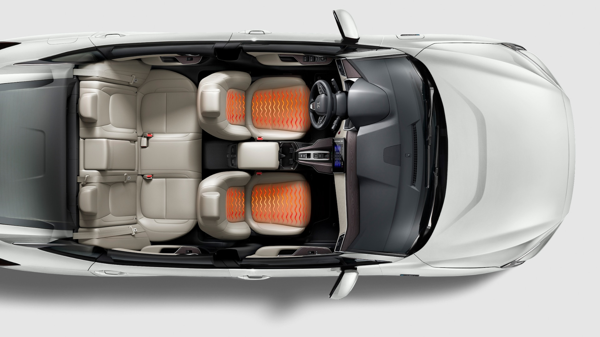 Overhead of 2021 Clarity Plug-In Hybrid in Platinum White Pearl.
