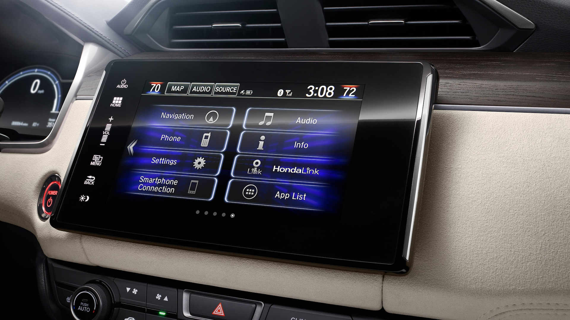 Detail of 8-inch Display Audio touch-screen.