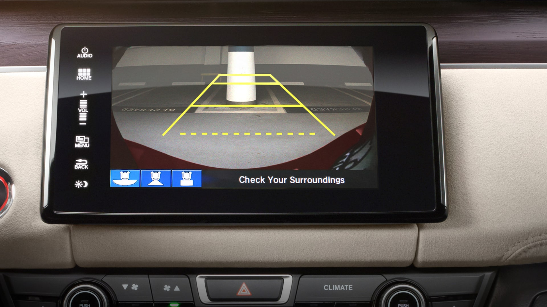Detail of the multi-angle rearview camera guides on 8-inch Display Audio touch-screen.