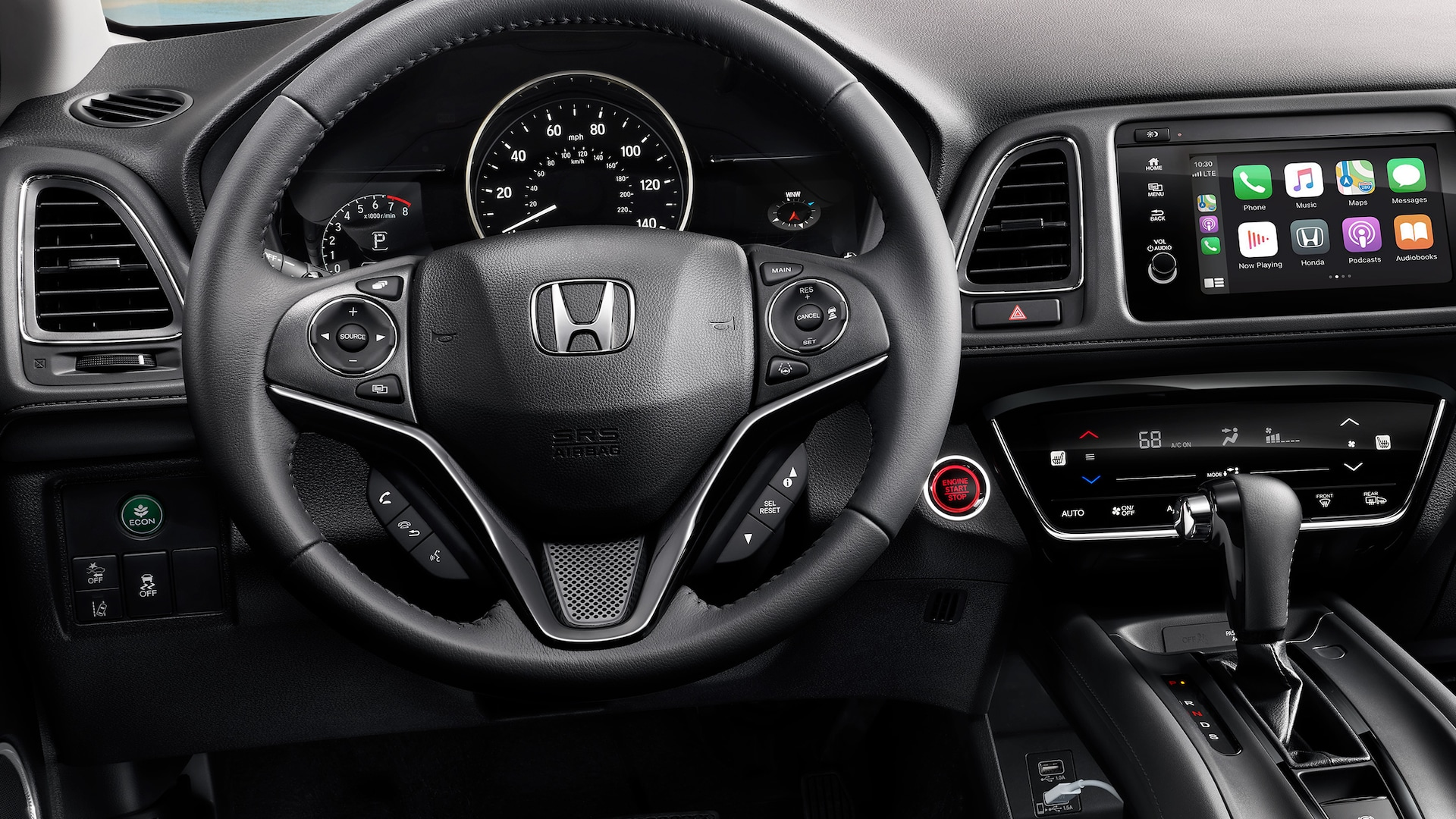 Interior cabin view of instrument panel in the 2021 Honda HR-V EX-L with Black Leather.