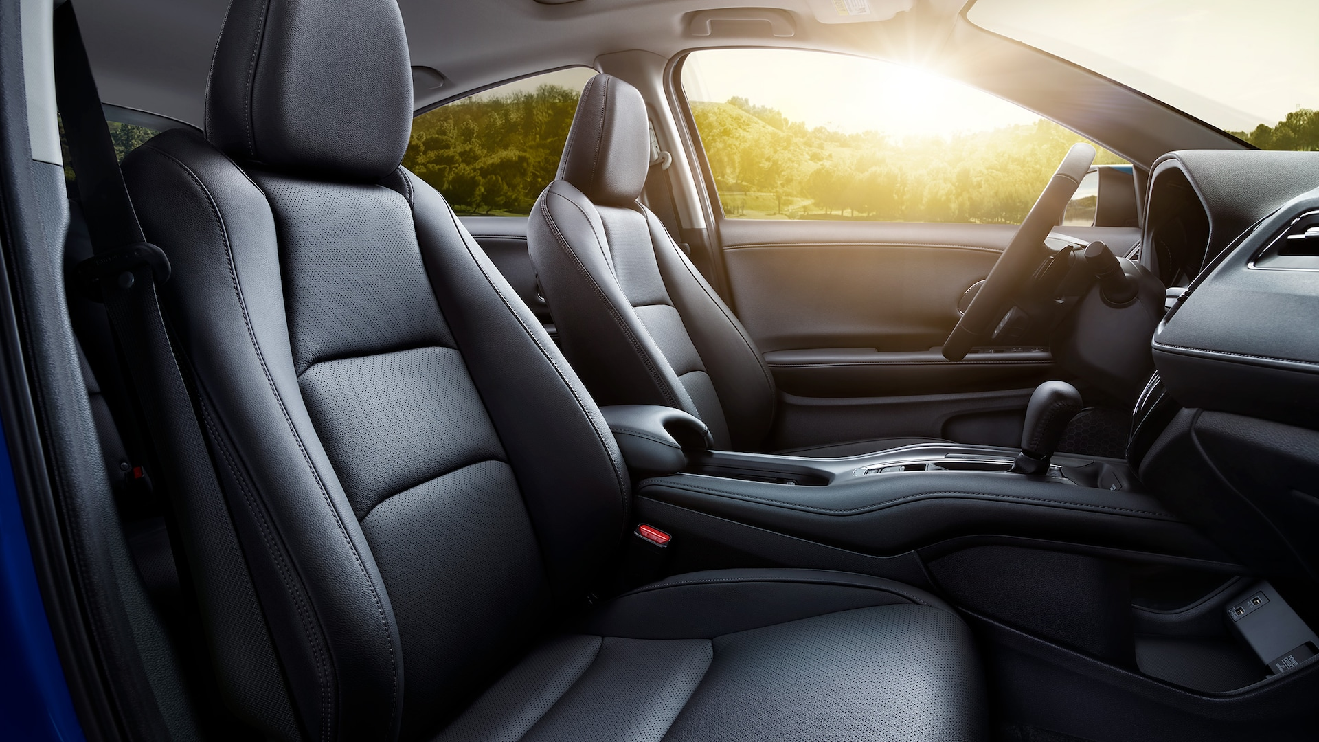 Interior front passenger-side view of the 2021 Honda HR-V EX-L seats with Black Leather.