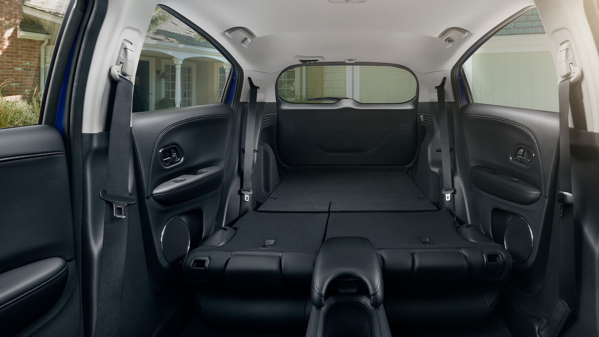 Interior view of the 2021 Honda HR-V EX-L with Black Leather and all rear seats folded down.