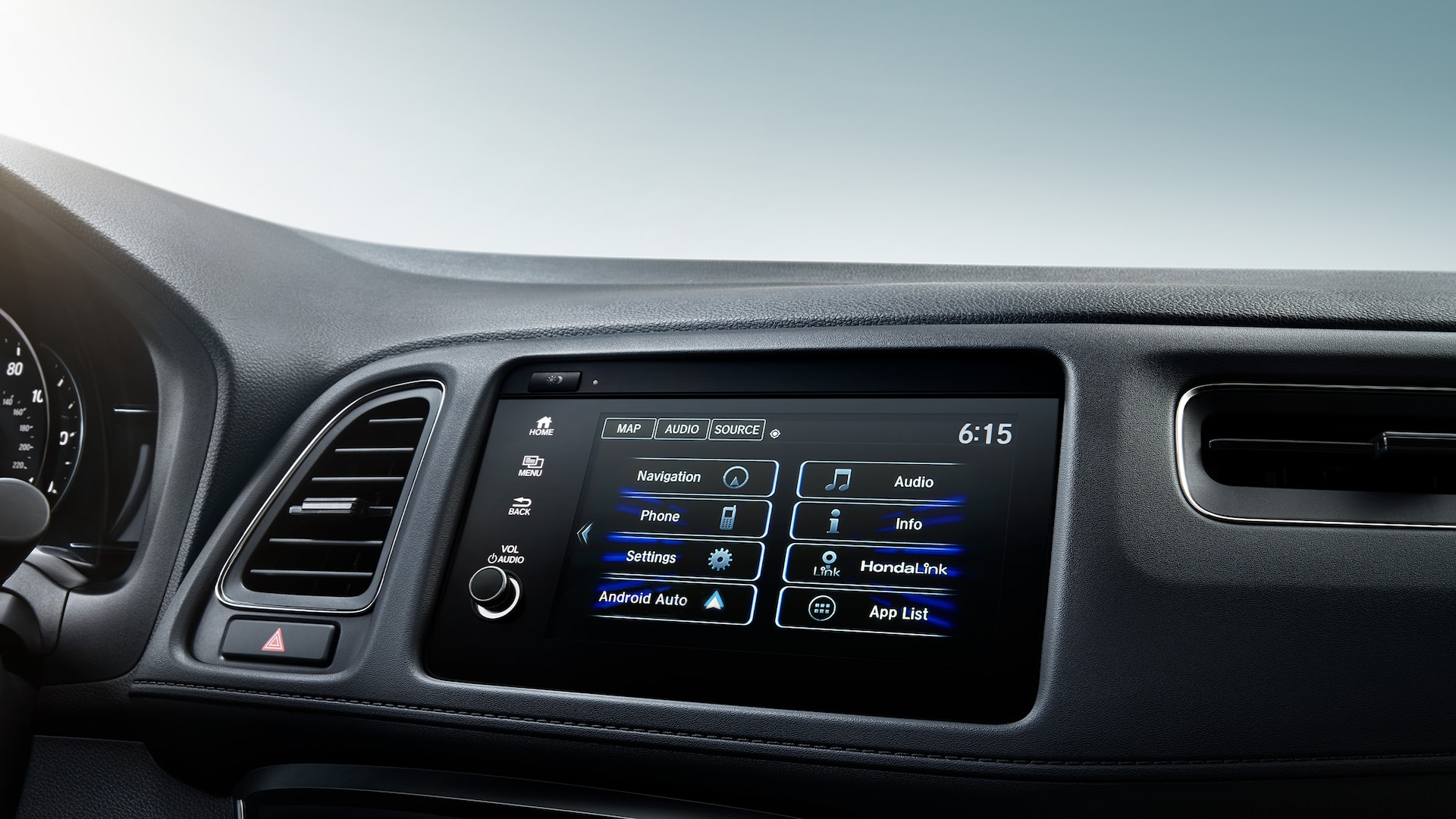 7-inch Display Audio touch-screen detail on the 2021 Honda HR-V EX-L.