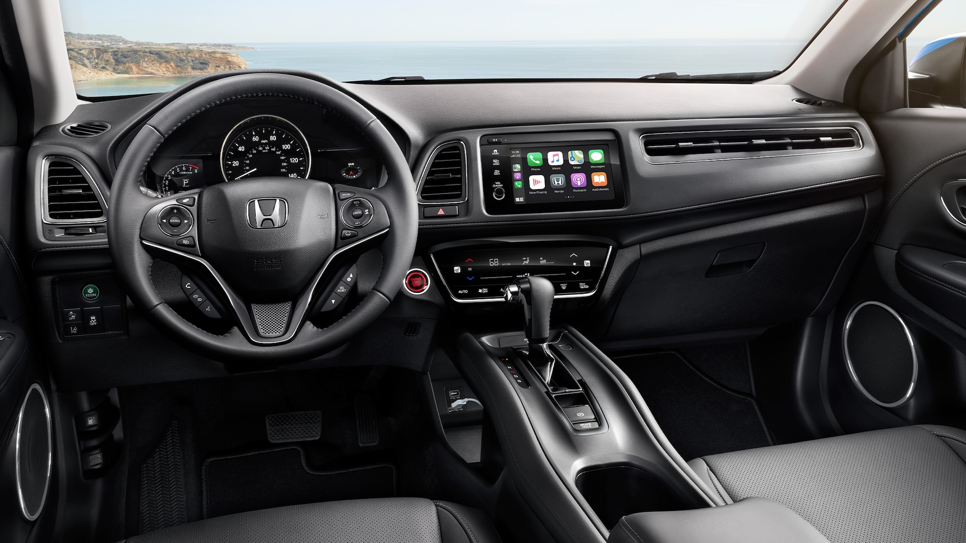 Interior view of steering wheel and instrument panel detail in the 2021 Honda HR-V EX-L with Black Leather.