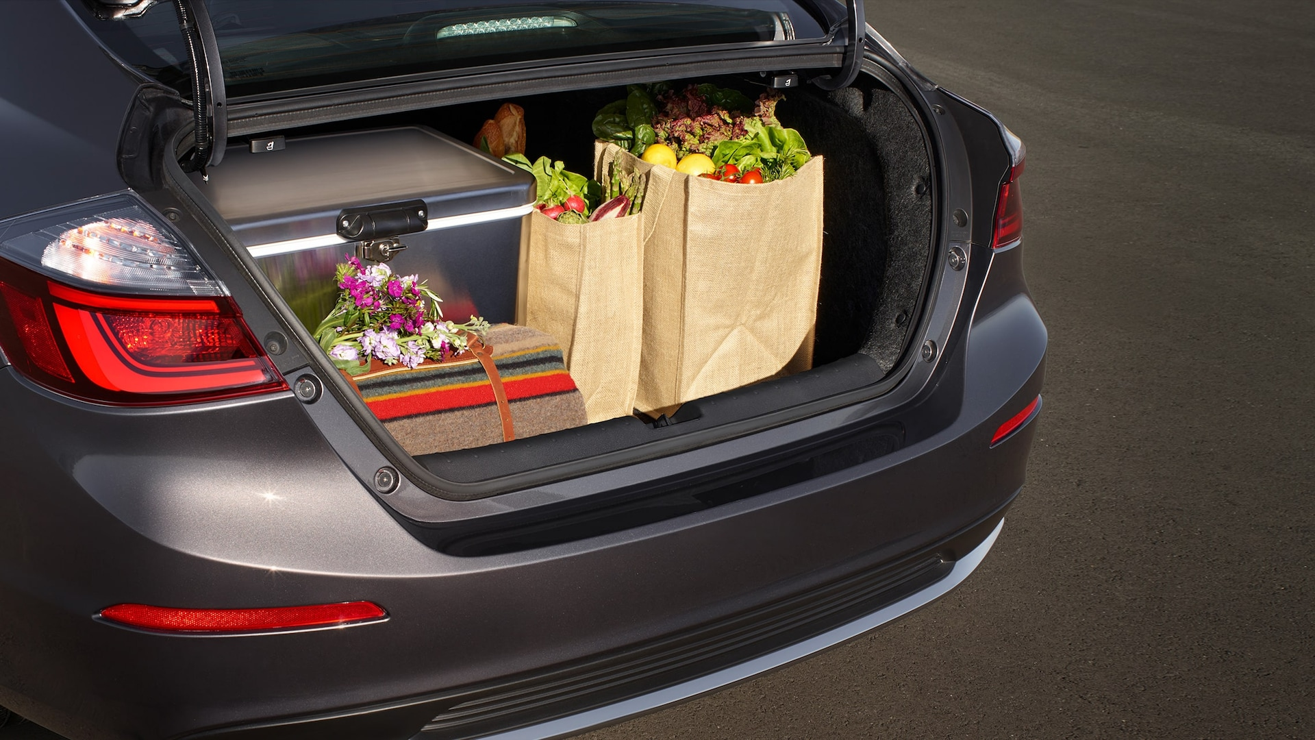 Trunk space detail on 2021 Honda Insight Touring in Modern Steel Metallic.