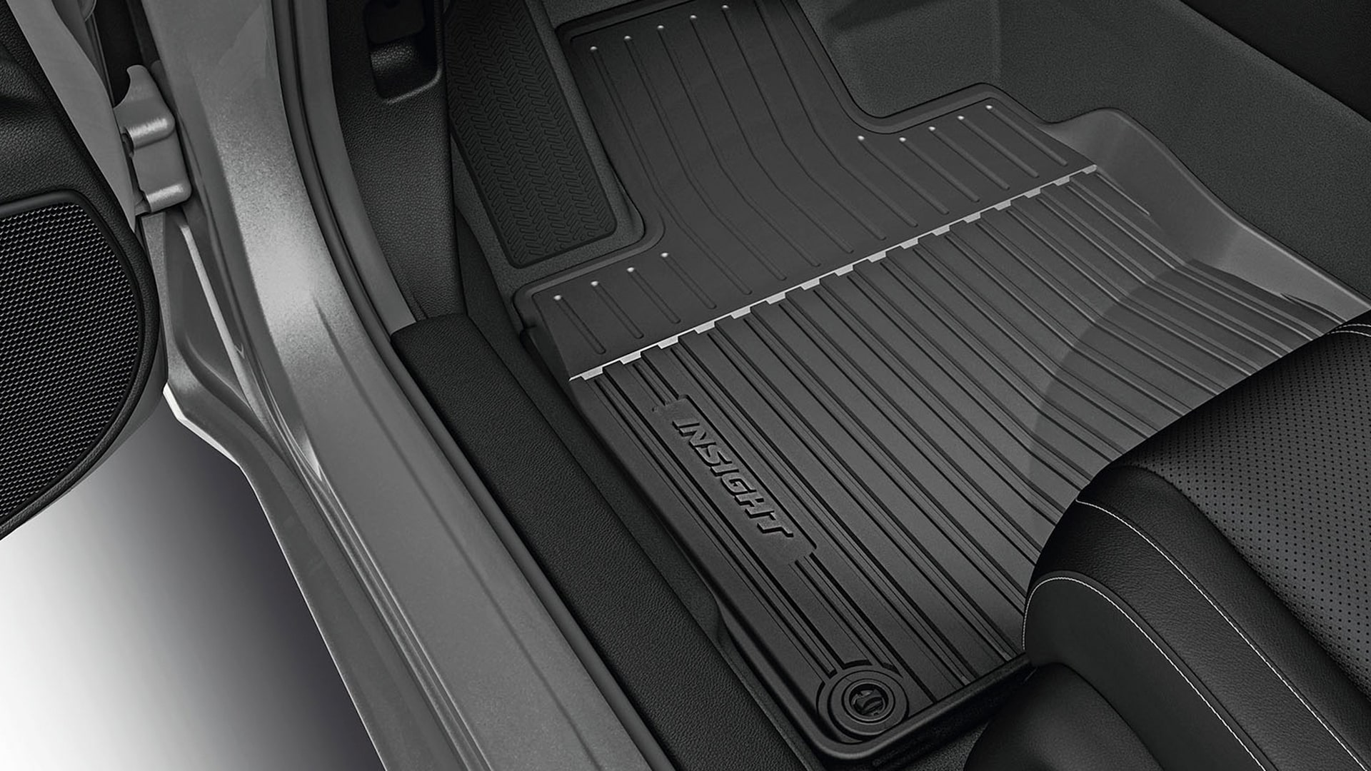 All-season floor mat detail on the 2021 Honda Insight in Lunar Silver Metallic.