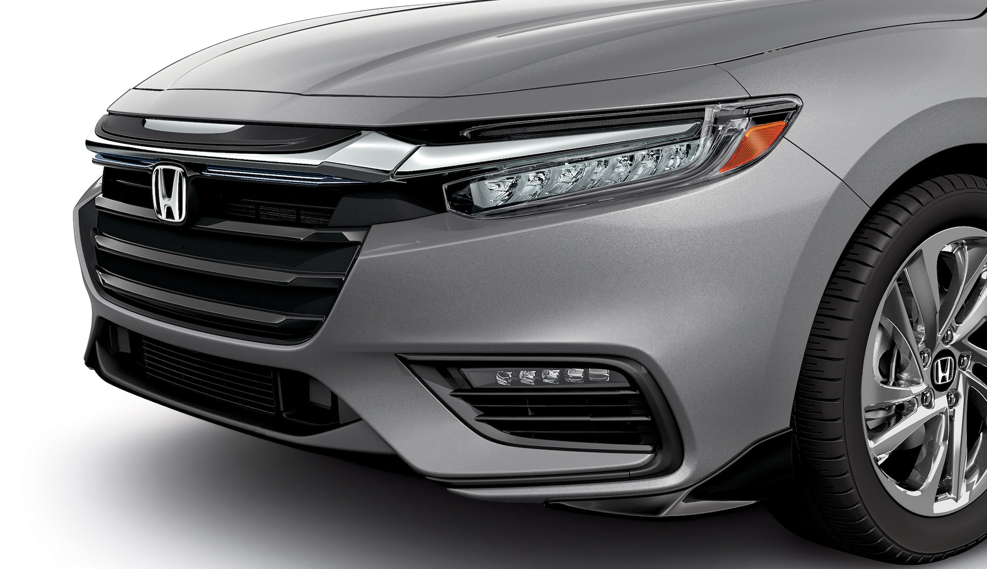 Detail of accessory front underbody spoiler of the 2021 Honda Insight in Lunar Silver Metallic.