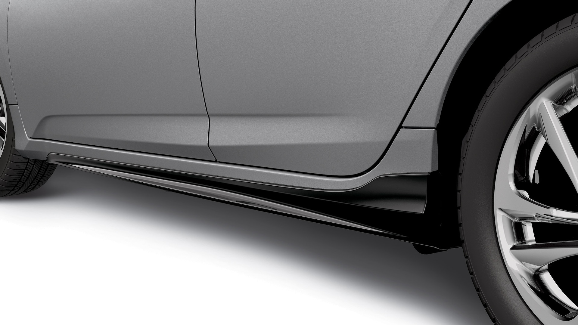 Detail of accessory side underbody spoiler on the 2021 Honda Insight Touring in Lunar Silver Metallic.