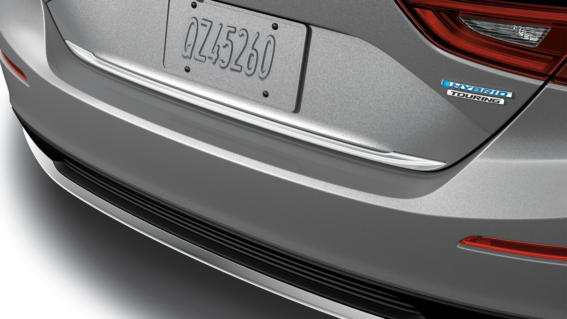 Detail of accessory trunk trim on the 2021 Honda Insight Touring in Lunar Silver Metallic.
