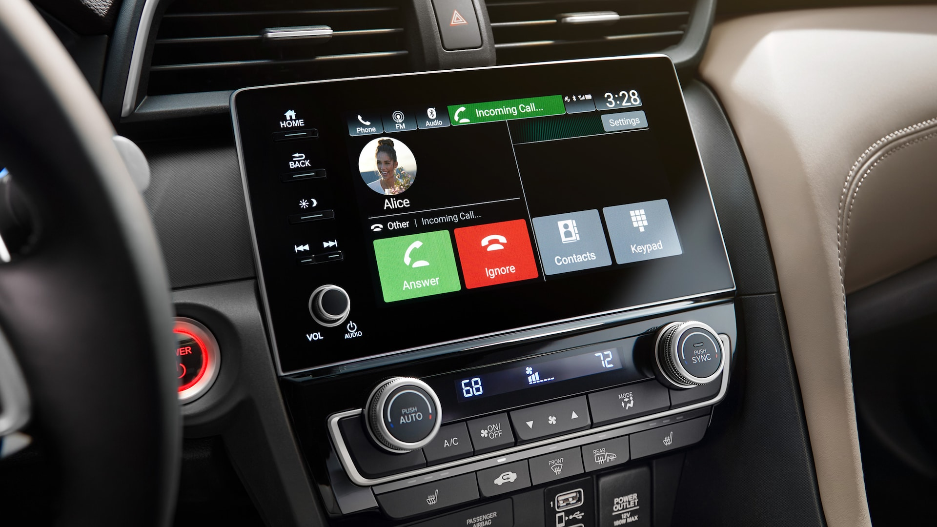 Bluetooth®* HandsFreeLink® detail on Display Audio touch-screen on 2021 Honda Insight Touring with Ivory Leather.