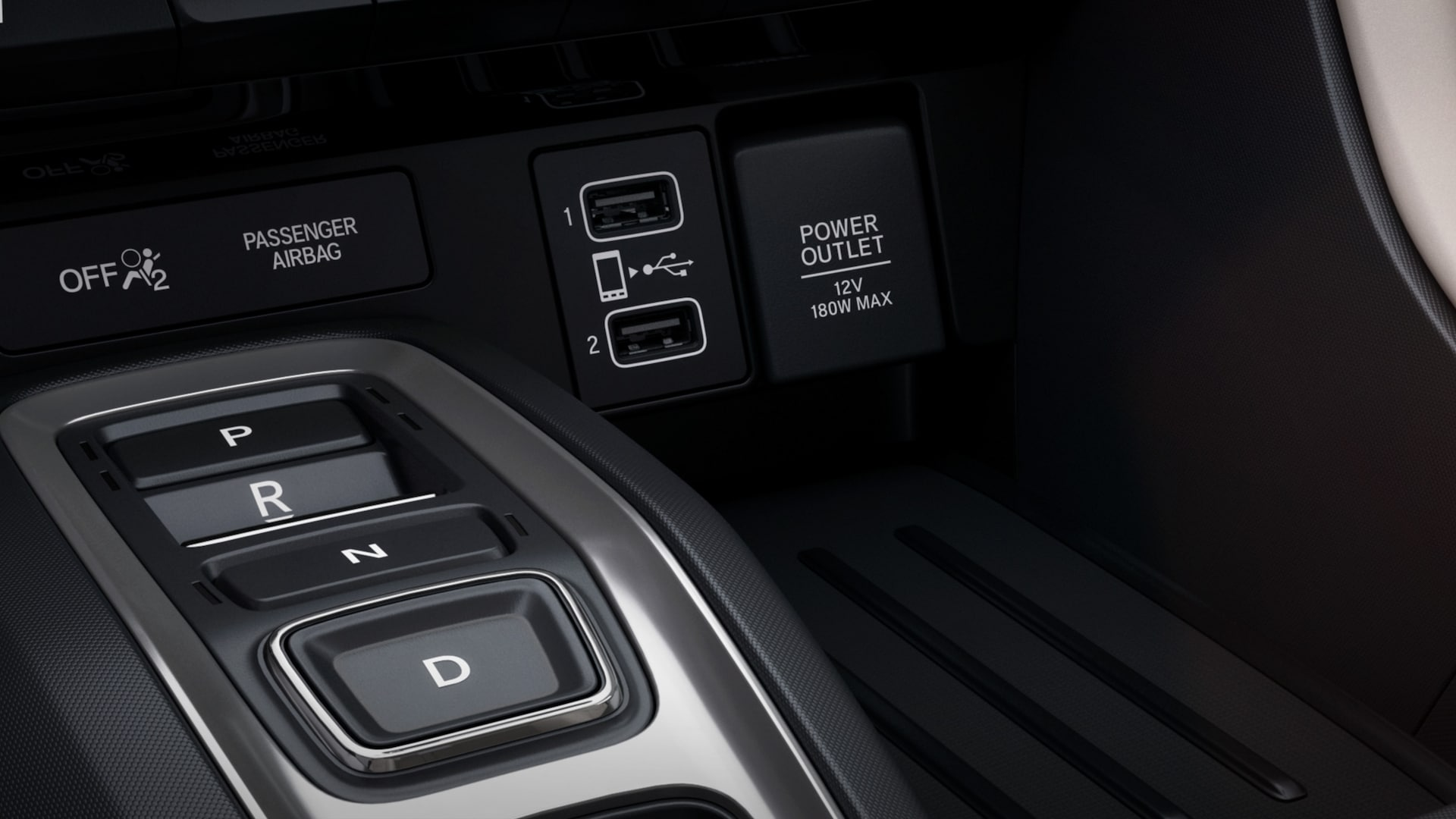 Front USB ports detail on 2021 Honda Insight Touring.