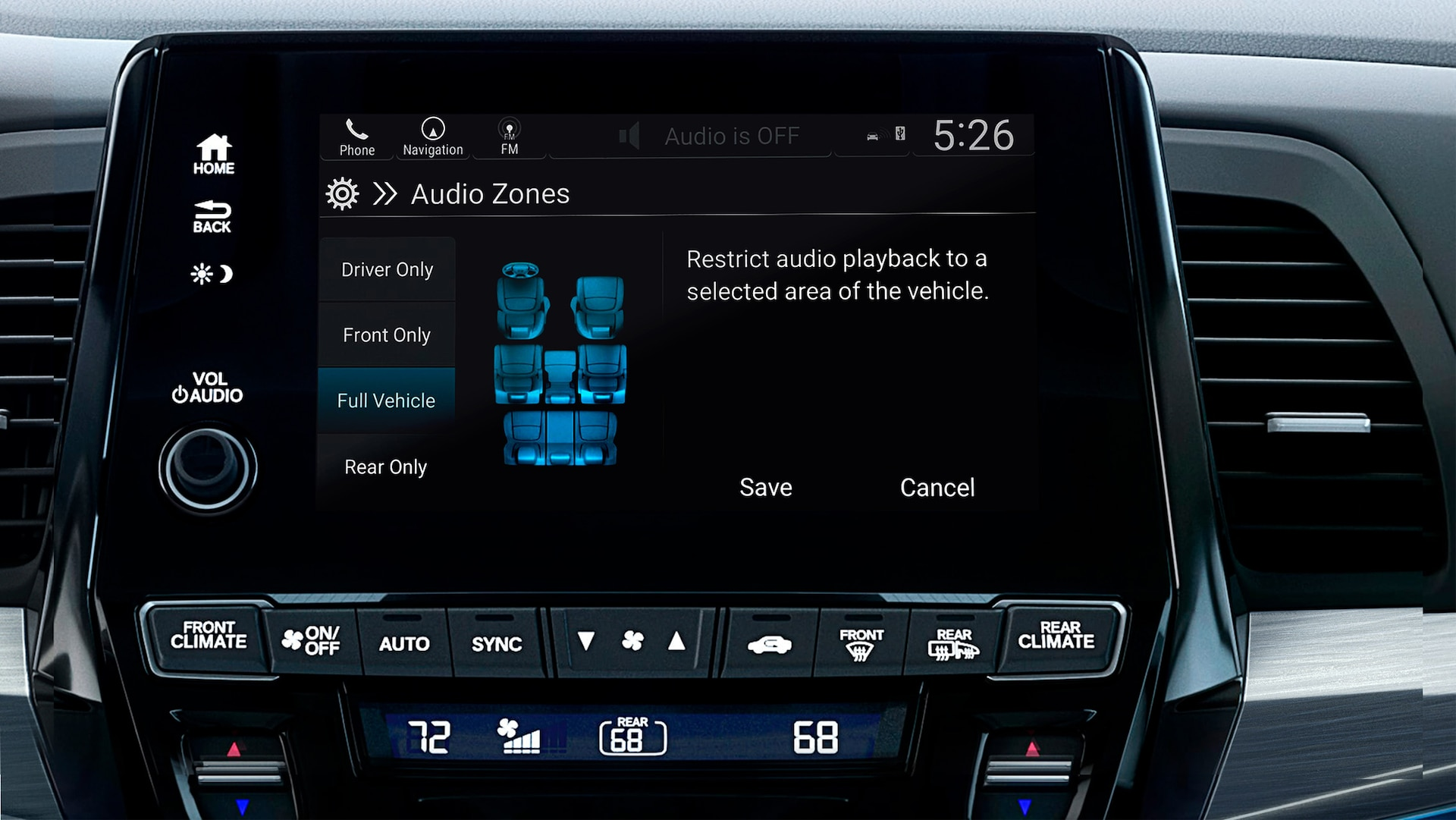 Multi-zone audio detail on Display Audio touch-screen in the 2022 Honda Odyssey Elite with Gray Leather.