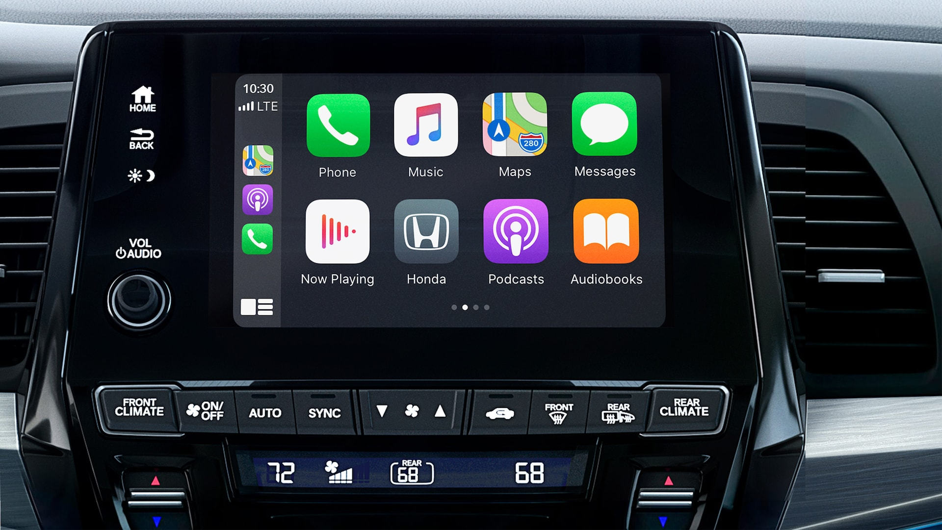 Detalle de Apple CarPlay® en la pantalla táctil del sistema de audio en la Honda Odyssey Elite 2022 con Gray Leather.