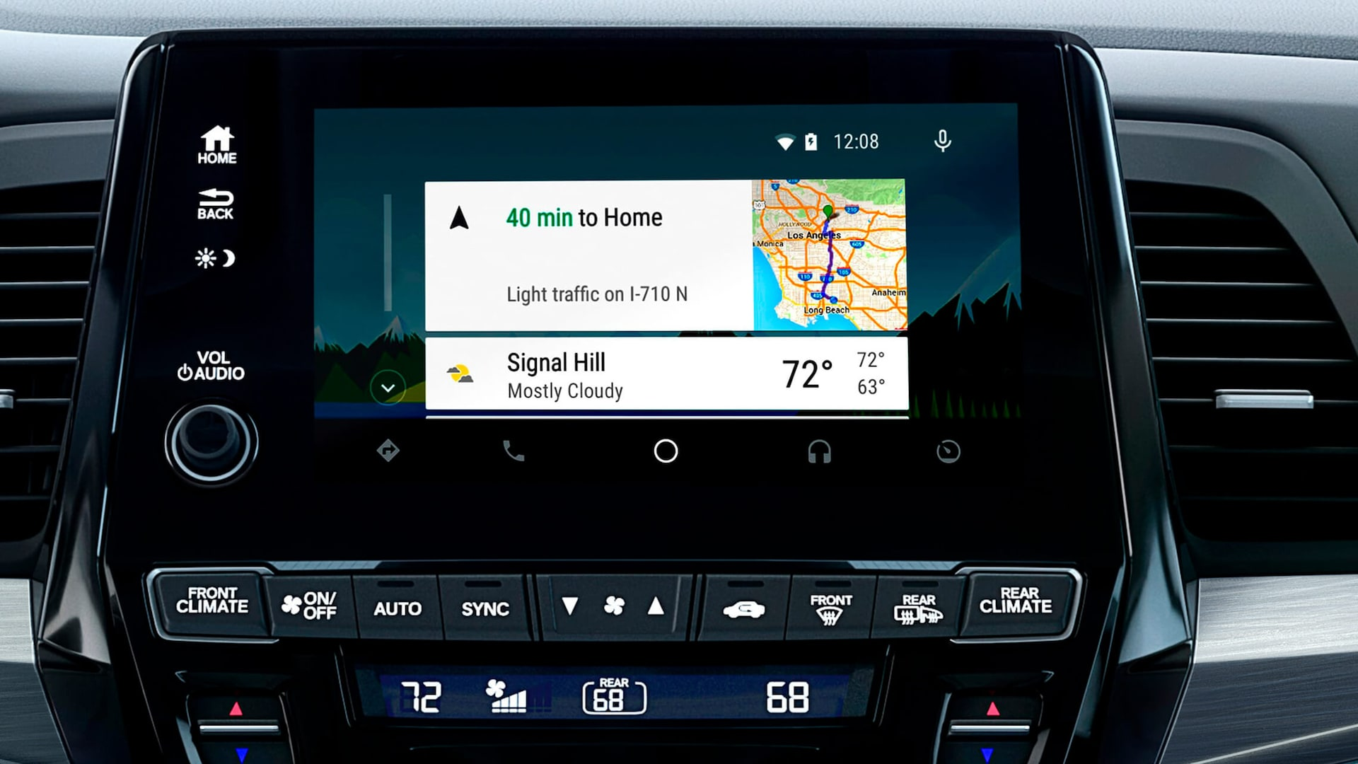 Android Auto™ detail on Display Audio touch-screen in the 2022 Honda Odyssey Elite with Gray Leather.
