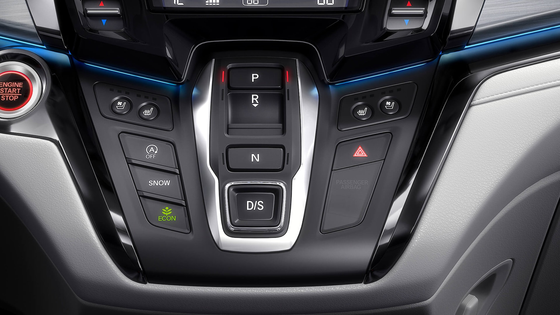 Electronic gear selector detail on the 2022 Honda Odyssey Elite.