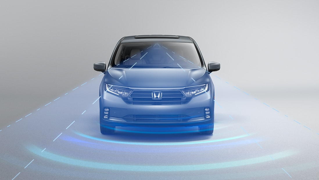 Demonstration of Honda Sensing®. Plays video. Opens a dialog.