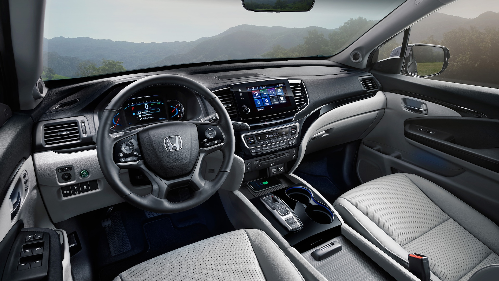 Vista interior de la cabina de la Honda Pilot Elite 2021 con Gray Leather.