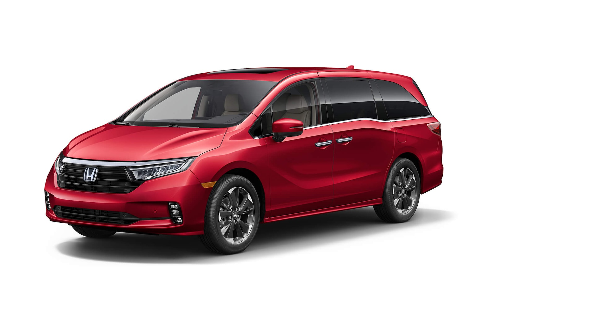 Front driver-side view of the 2022 Honda Odyssey Elite in Radiant Red Metallic II.