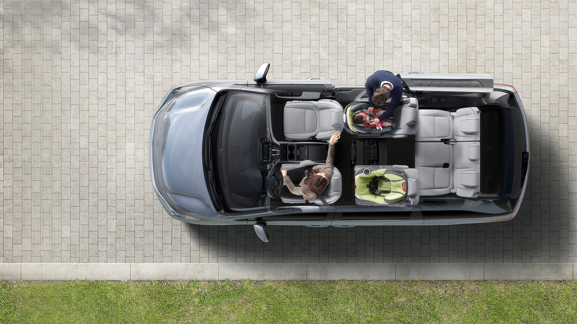 Animated overhead cutaway view of the 2022 Honda Odyssey Elite in Lunar Silver Metallic displaying seating configurations.