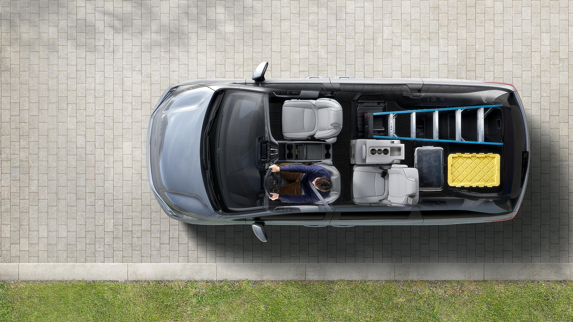 Animated overhead cutaway view of 2022 Honda Odyssey Elite in Lunar Silver Metallic displaying cargo configurations.