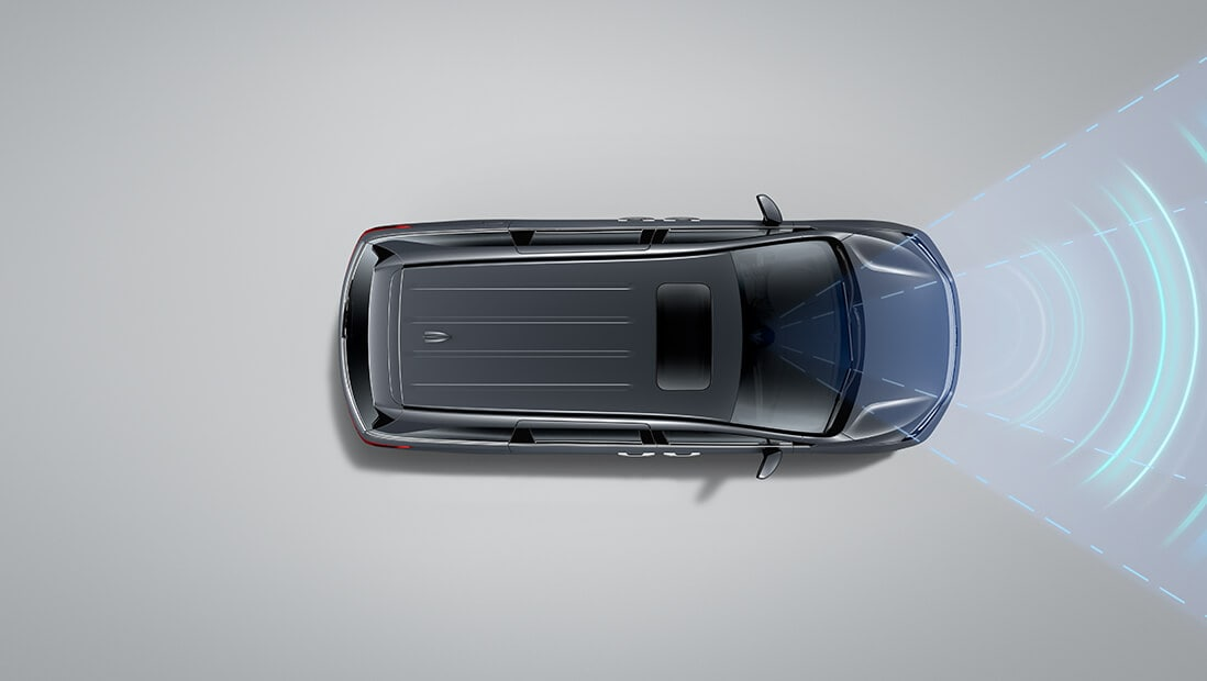 Overhead view of the 2022 Honda Odyssey Elite in Modern Steel Metallic, demonstrating Lane Keeping Assist System feature.